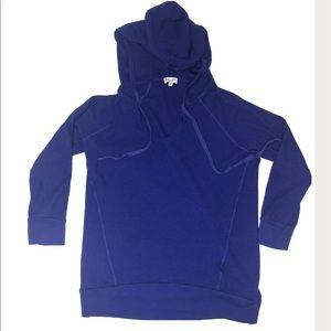 Splendid Hooded Shirt Hooded 3/4 Sleeve Waffle